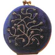 Small Purple Velvet Embroidered Purse c1890