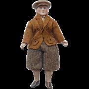 German Bisque Dolls House Doll Golfer c1915