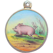 Enamel Charm Running Pig c1910