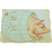Edwardian Pig Christmas Card c1910