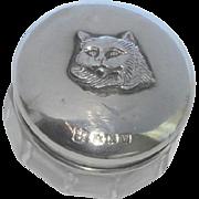 Small Silver Cat Lid Trinket Pot HM 1921