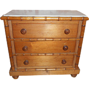 French Dolls Three Drawer Chest Faux Bamboo Marble Top c1900