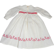 Red Embroidered White Pique Doll Dress c1910