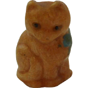 Chunky Old Ginger Cat In Blue Bow For Dolls House c1930