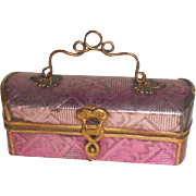 Small Early Pink Foiled Casket c1860