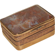 Tiny Finely Made Agate Set Box In Lovely Condition c1890