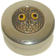 Tiny Box With Glass Eyed Owl Lid c1930
