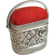 Small Silver Pincushion Basket c1840