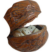 Novelty Walnut Miniature Dominoes c1910