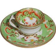 Hand Painted Miniature Cup & Saucer 19th C