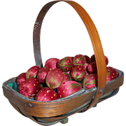 Trug Of Silk Emery Strawberries c1890