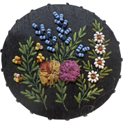 Bead Work & Ribbon Pin Cushion c1860