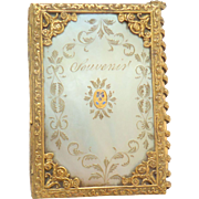 Palais Royal Gilt & Mother Of Pearl Needlecase With Pansy c1820