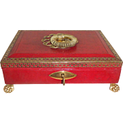 Fine Regency Red Leather Covered Work Box c1820