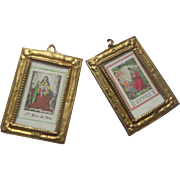 Tiny French Gilt Framed Pictures c1830