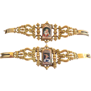 Rare Pair Of Swiss Enamel Picture Pinchbeck Bracelets c1830
