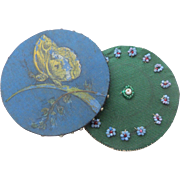 Bead Work & Hand Painted Silk Pin Cushions c1880