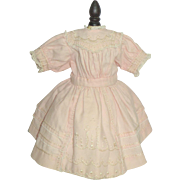 Antique Pink Embroidered Challis Doll Dress c1900