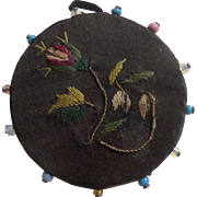 Embroidered Silk Pinwheel c1860