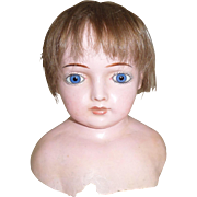 Large Early Wax Over Dolls Head c1890