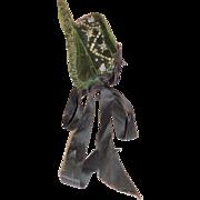 Antique Green Velvet Beaded Doll Bonnet c1890