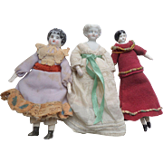 Three Antique Dolls House Dolls Attic Condition