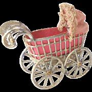 Tiny Miniature Pram Pink Lining c1915