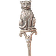 Cat Finial Solid Silver Spoon HM 1917