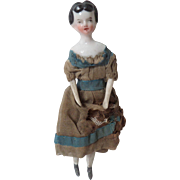 Unusual Hairstyle Exposed Ear China Dolls House Doll c1860