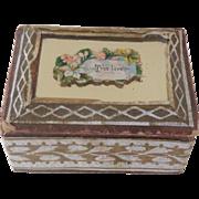 Tiny Mirror Lid Sewing Box c1880