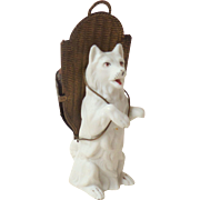 Unusual Bisque Spitz Dog Pin Cushion c1910