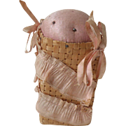 Pink Silk Basket Pin Cushion c1890