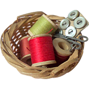 Tiny Sewing Basket For Dolls House c1910