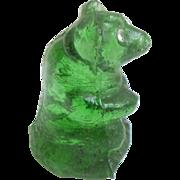 Emerald Green Czech Glass  Bear Sparkling Eyes c1915