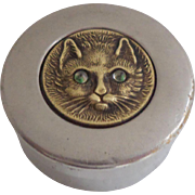 Tiny Box With Glass Eyed Cat Lid c1930