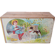 Antique Box With Dog & Child Lithographed Lid c1910