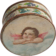 Antique Lithograph Cherub Box c1910