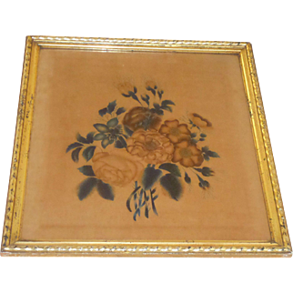 Antique Theorem Painting Of Flowers c1840