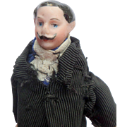 Moustached Bisque Gent for Dolls House c1890