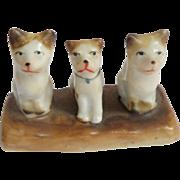 Tiny Fairing Cats Lined Up c1900