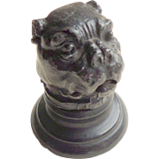 Painted Spelter Pug Dog Thimble Holder c1900
