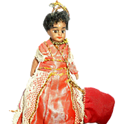 Barefoot All Bisque Glass Eyed Mulatto Doll French Market c1900