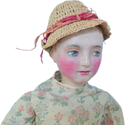 Prim Doll Handpainted Face Leather Body c1915