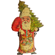 Lithographed Father Christmas Candle Clip For Christmas Tree c1910