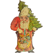 Red/Blue Lithographed Father Christmas Candle Clip For Christmas Tree c1910