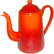 Vintage Enamel Graniteware Burning red petit coffeepot
