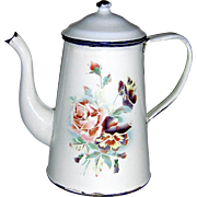 Shabby chic French Enamel Graniteware Coffiepot