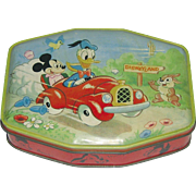 1950/60's  Charming Disney Tin Box with Mickey, Donald Duck and Thumper
