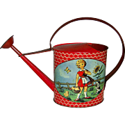 Stunning and beautiful to see red vintage tin watering can