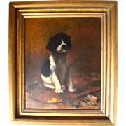 Antique Oil on Canvas of Puppy by M N Soper